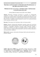 prikaz prve stranice dokumenta Problematika ulaganja u informacijsku tehnologiju na razini organizacije