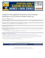 Analysis of the Legislative Resolution of the European parliamenton the Common European Sales Law