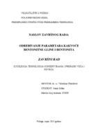 prikaz prve stranice dokumenta ODREĐIVANJE PARAMETARA KAKVOĆE BENTONITE GLINE I BENTONITA