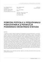 prikaz prve stranice dokumenta POREZNI POTICAJI U POSLOVANJU PODUZETNIKA S PODRUČJA POSEBNOG DRŽAVNOG STATUSA